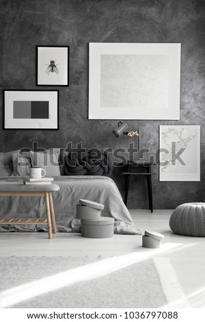 Silver painting and map on a gray wall above bed with dark knot cushion in monochromatic bedroom interior #1036797088