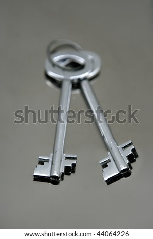 Silver pair of keys over mirror stainless steel real state concept