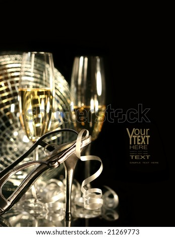 Silver party shoe with glasses of champagne on black