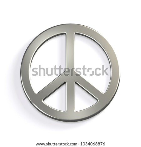 Silver Peace Sign. 3D Render Illustration