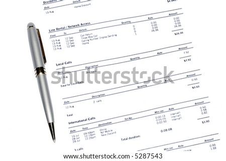 Silver Pen On A Monthly Phone Bill Statement, Business Background