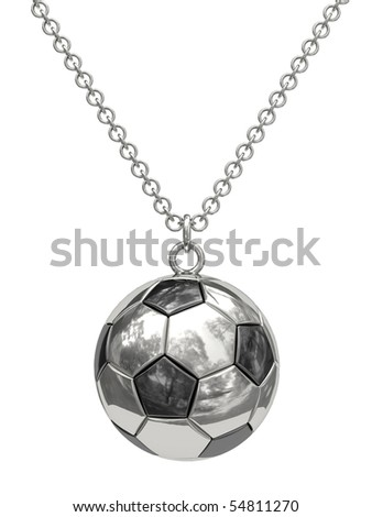 Silver pendant in shape of soccer ball on chain isolated on white. High resolution 3D image - stock photo