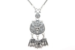 Silver pendant necklace bag design pattern isolated on white background. Silver necklace decoration with pouch carving flowers pattern and bead chain