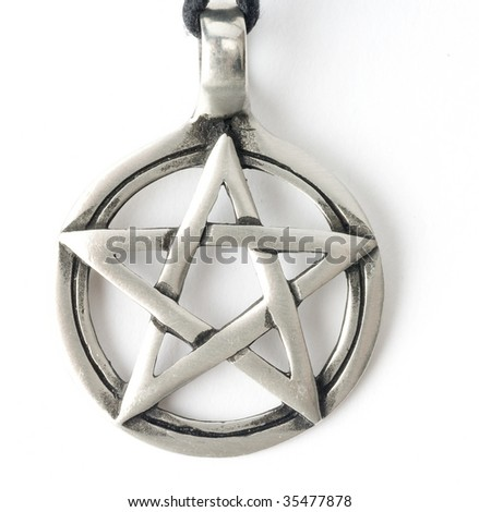 silver pentagram isolated on white