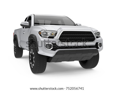 Silver Pickup Truck Isolated. 3D rendering