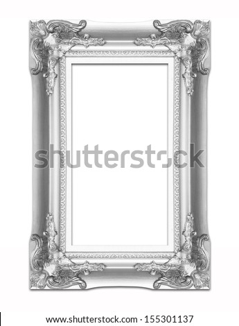 silver picture frame .Isolated on white background