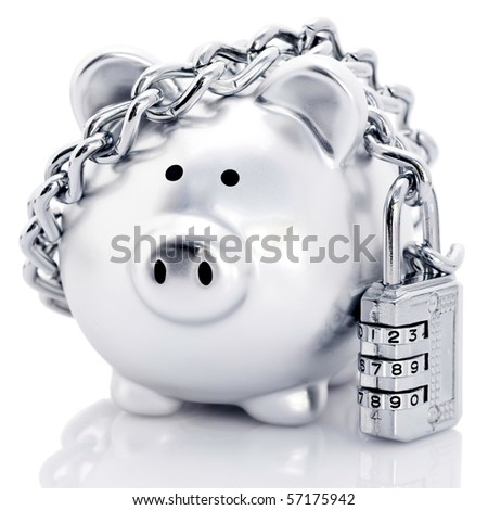 Silver piggy bank secured with padlock and chain, reflecting on white background.