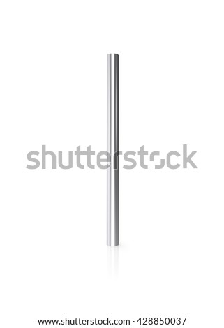 Silver pipes isolated on white background with reflect floor. 3d illustration