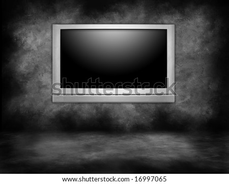 Silver Plasma Television Hanging on an Interior Wall in a Darkened Room