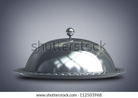silver platter or cloche with space to place object  3d render