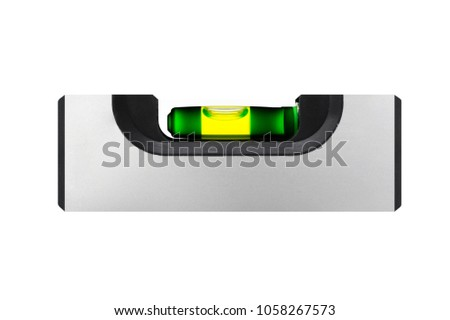 Silver pocket spirit level isolated on a white background shows the horizon. #1058267573