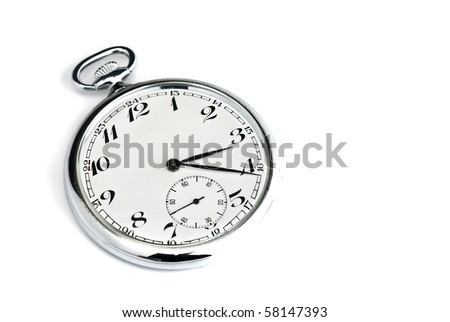 silver pocket watch isolated against a white background