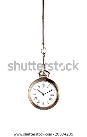 silver  pocket watch with chain isolated on a white background