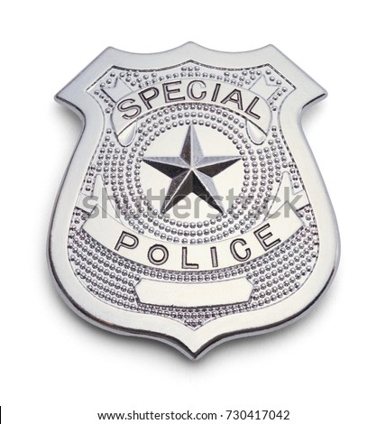 Silver Police Badge Isolated on a White Background. #730417042