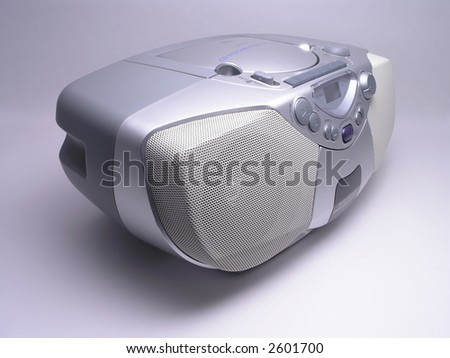 Silver Portable Music Boom Box - stock photo