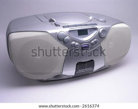 Silver Portable Music Boom Box