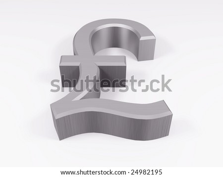 Silver pound symbol isolated on white 3d render
