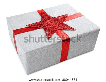 silver present with a red ribbon and star on white background