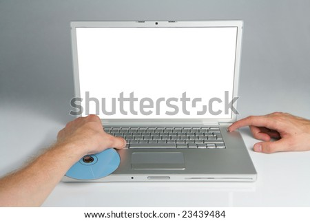 Silver professional icon of the laptop