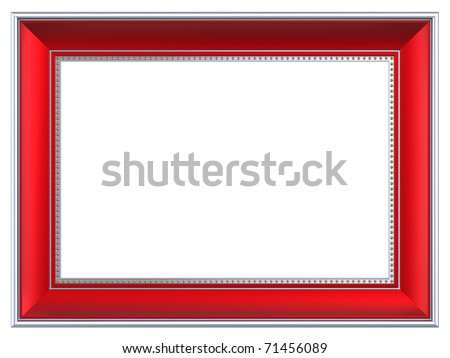 Silver-red rectangular frame isolated on white background. Computer generated 3D photo rendering.