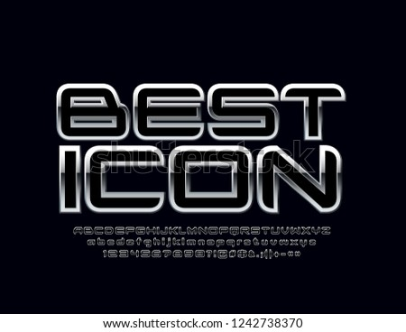 Silver reflective Font with text Best Icon. Vector set of chrome Alphabet Letters, Numbers and Symbols. #1242738370