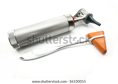 Silver reflex medical hammer and silver otoscope