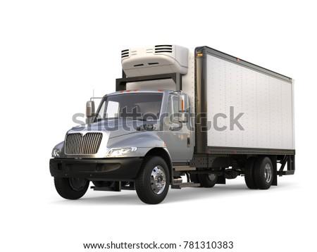 Silver refrigerator trailer truck - 3D Illustration