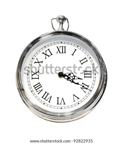 Silver retro clock isolated with clipping path included
