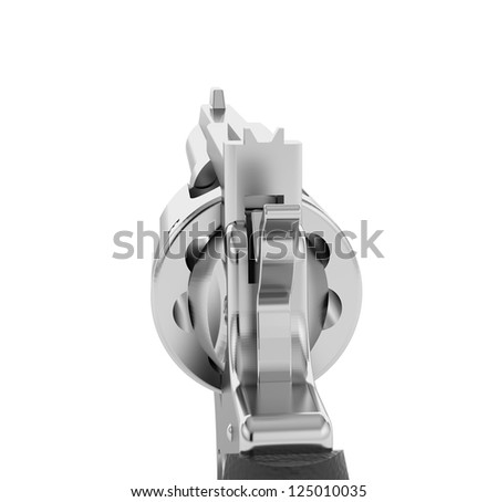Silver Revolver isolated on a white background