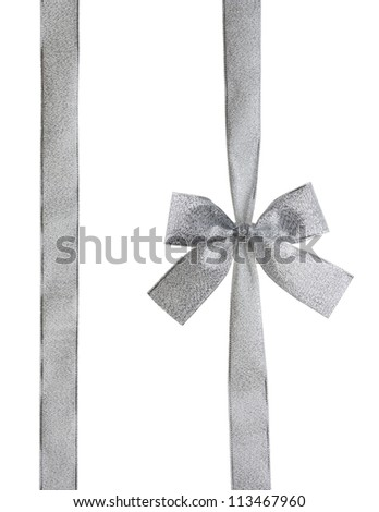 silver ribbon and bow isolated on white with CLIPPING PATH