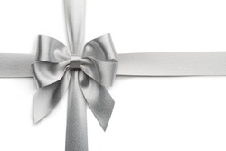 Silver ribbon bow isolated on white background