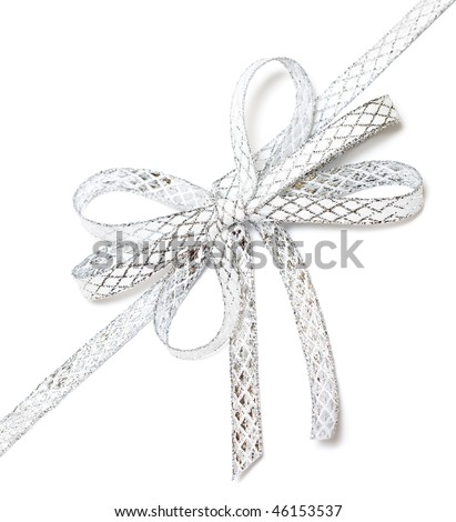 silver ribbon isolated on white background