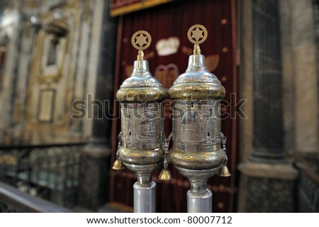 silver rimonims in the synagogue of Carpentras,France. Focused at the right rimonim.