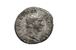 Silver Roman coin, obverse of denarius of the emperor Trajan Augustus AD98-117, Rome mint