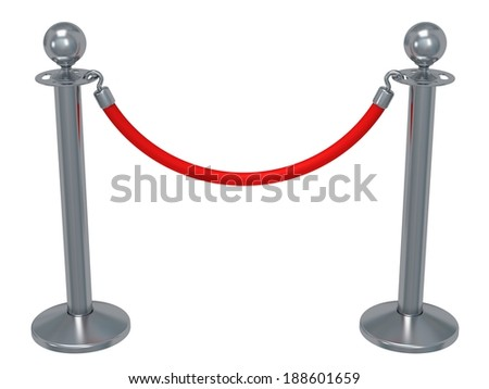 Silver rope barrier - 3d render. Fence with red rope isolated on white. Luxury, VIP concept