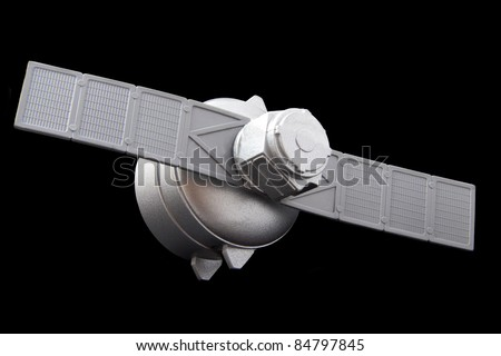 Silver satelite isolated on a black background