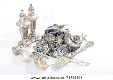 Silver scrap pile for melt Stock photo ©