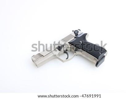 Silver Semi Auto handgun