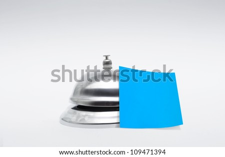 Silver Service Hotel Bell With Empty Blue Message And Room For Copy