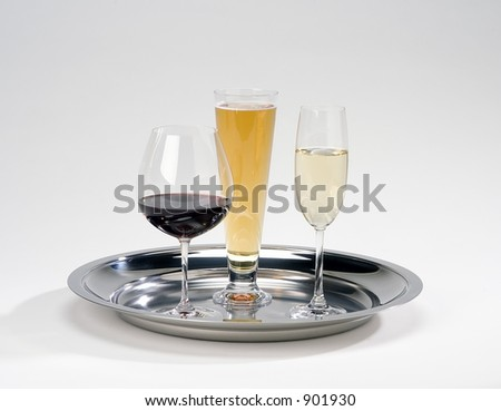 silver serving tray with drinks,beer,wine,champagne