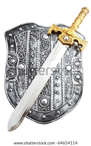 Silver shield with sword isolated over white