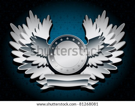 silver shiny coat of arms with wings and banner on dark background