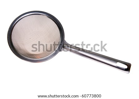 Silver sieve isolated on white background - stock photo