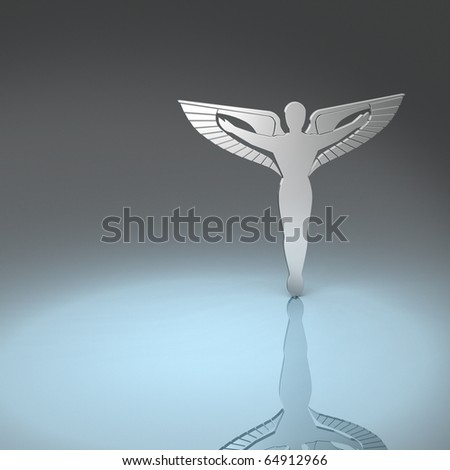 Silver silhouette of caduceus - the symbol of / for chiropractors - stock photo