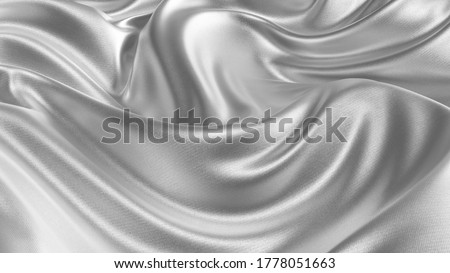 Silver silk wavy fabric abstract background close up. Closeup of rippled silk fabric. Smooth elegant silver-colored silk or satin. 3d rendering.