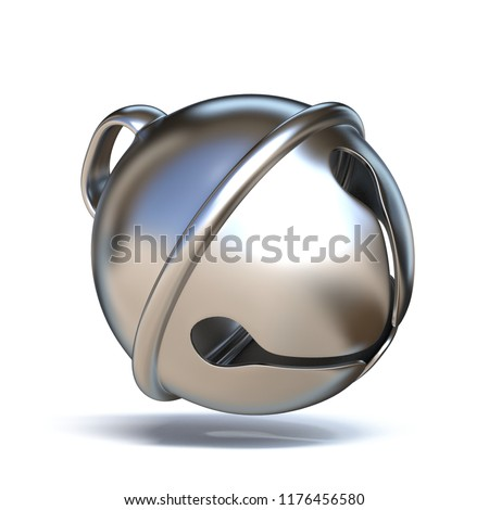 Stock Photo Silver sleigh bell 3D render illustration isolated on white background