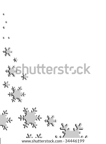stock photo : Silver snowflakes falling on white background.