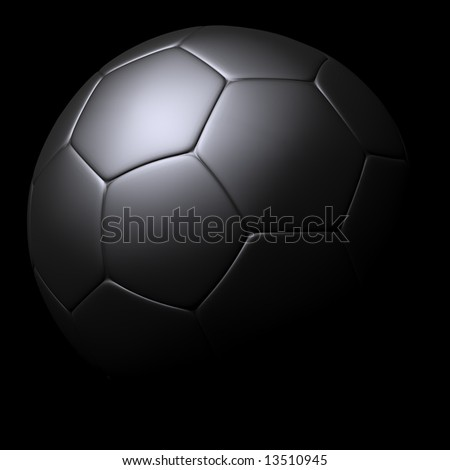 Silver Soccer ball isolated on black background.