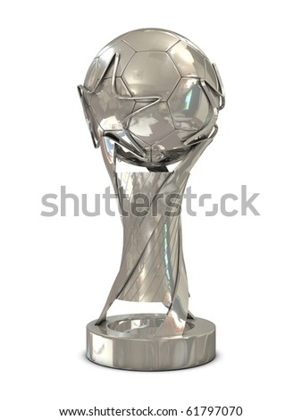 Silver soccer trophy with stars isolated on white background