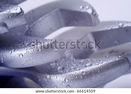 silver spanners isolated with clipping path